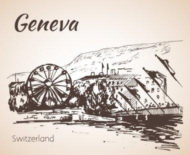 Hand drawn cityscape Geneva, Switzerland.