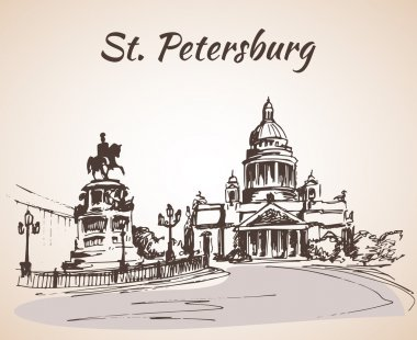 Saint Isaac Cathedral and the Monument to Emperor Nicholas I in Saint Petersburg, Russia. Sketch by hand. Vector illustration. clip art vector