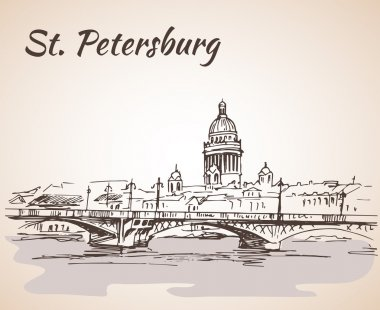 Saint Isaac Cathedral and bridge in Saint Petersburg, Russia. Sk