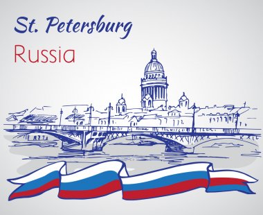 Saint Isaac Cathedral and bridge in Saint Petersburg, Russia. Sketch by hand. Vector illustration. clip art vector