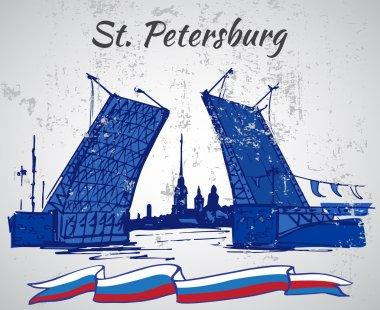 Hand drawn Saint Petersburg bridge and flag