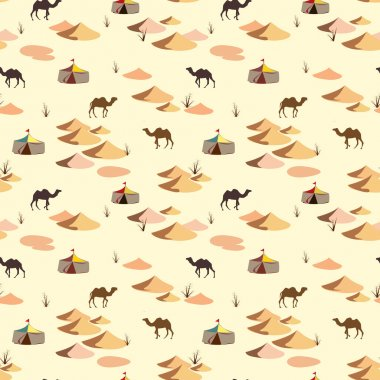Seamless pattern with camels and dunes on the desert