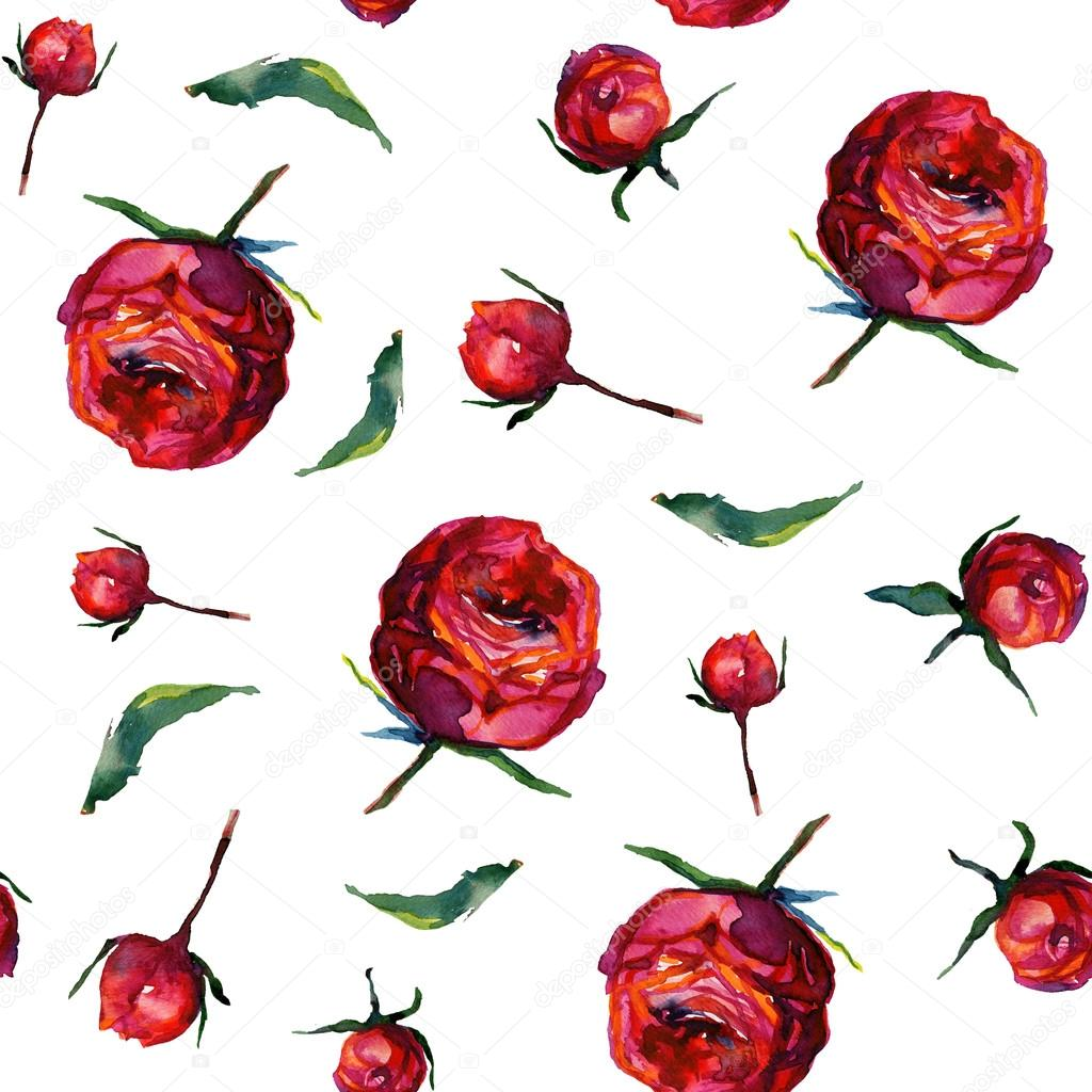 Seamless pattern with red fragile roses and leafs