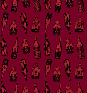 Seamless pattern with different alcohol bottles