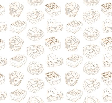 Cute seamless pattern with different sweets