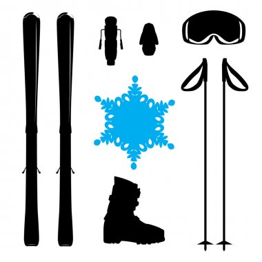 Set of skiing equipment silhouette with snowflake