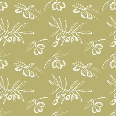 Seamless pattern withhand drawn olive branches
