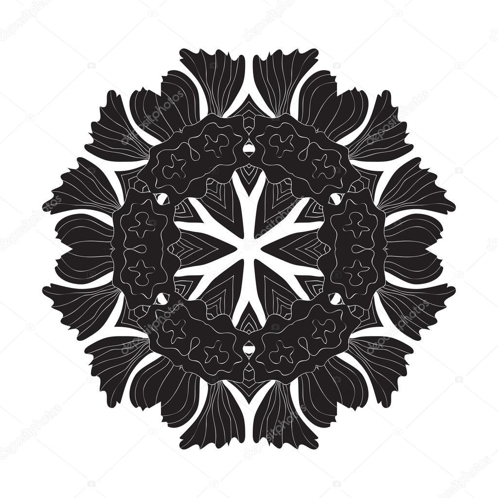 Tatouage Fleur Mandala Doodle Dessins Vectoriels Image Vectorielle