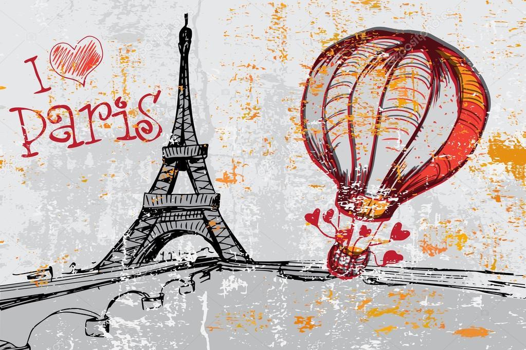 Fondo De Grunge De París Con