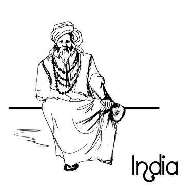 Hand drawn indian old man