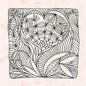 Zentangle con fiore forma cuore