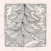 Zentangle con albero di Natale e neve