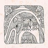 Zentangle con elefante e astratto fiore