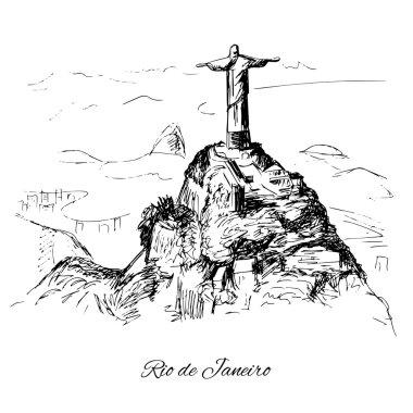 Hand drawn Rio de Janeiro coast clip art vector