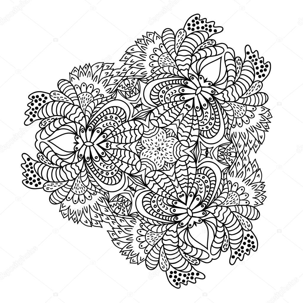 Hand Drawn Zentangle Flower Pattern Stock Vector 93889996