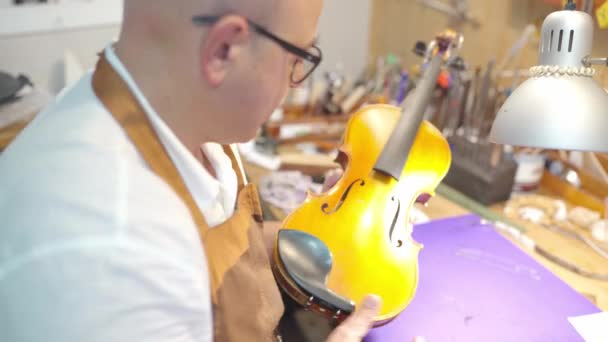 Craftsman setting sound post while building string instrument in workshop