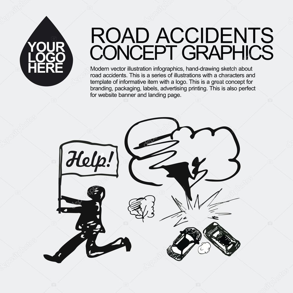 Road accident. The car crashed incident. — Stock Vector © Otay ...