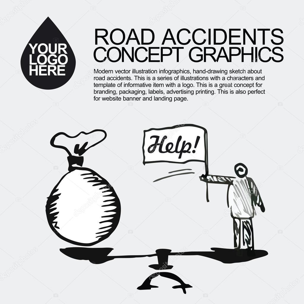 Verkehrsunfall. Das Auto stürzte Vorfall — Stockvektor © Otay #109006902