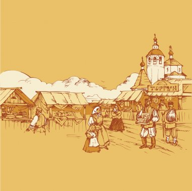 Russian old fair bazaar vector drawing