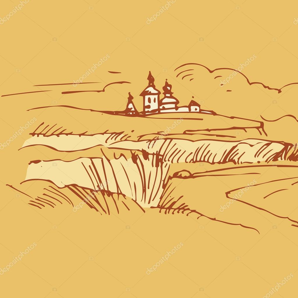 Retro landscapes. Russian village vector drawing.
