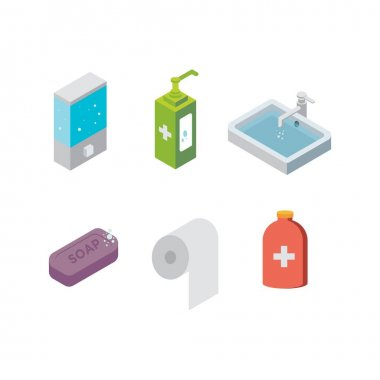 Covid19 Prevention Kit a Set of Sanitation Tools in Isometric Vector Illustration Icon icon
