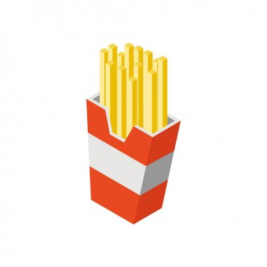 French Fries Isometric Flat Icon Illustration Isolated in White icon