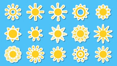 Summer symbol for tableware decor, child clothing, toys, notebooks, scrapbooking, creativity. Pack of stickers for children on white background. icon