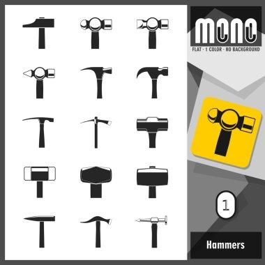 Mono Icons - Hammers 1. Flat monochromatic icons