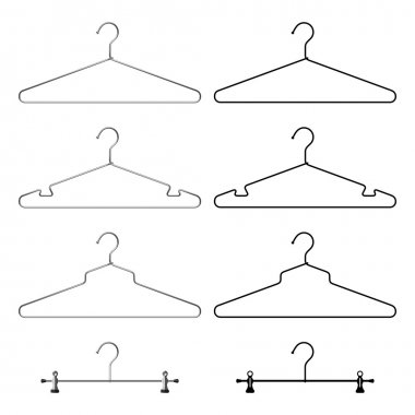 Set of steel metallic clothes hangers. Realistic and black silho