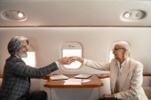 Side view of smiling business people shaking hands near laptops in airplane