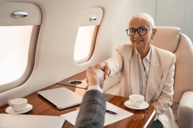 Smiling businesswoman shaking hands with businessman near paper and laptops in private jet stock vector
