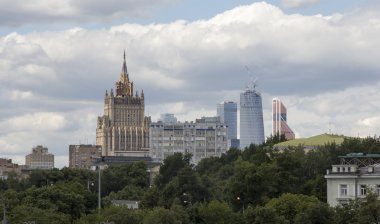 Ministry of Foreign Affairs of Russia on the background of which is returned to the complex modern skyscrapers Moscow City