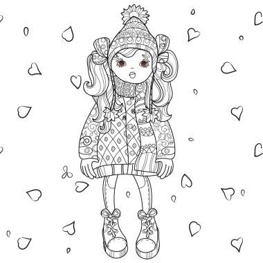 Vector cute girl in winter hat