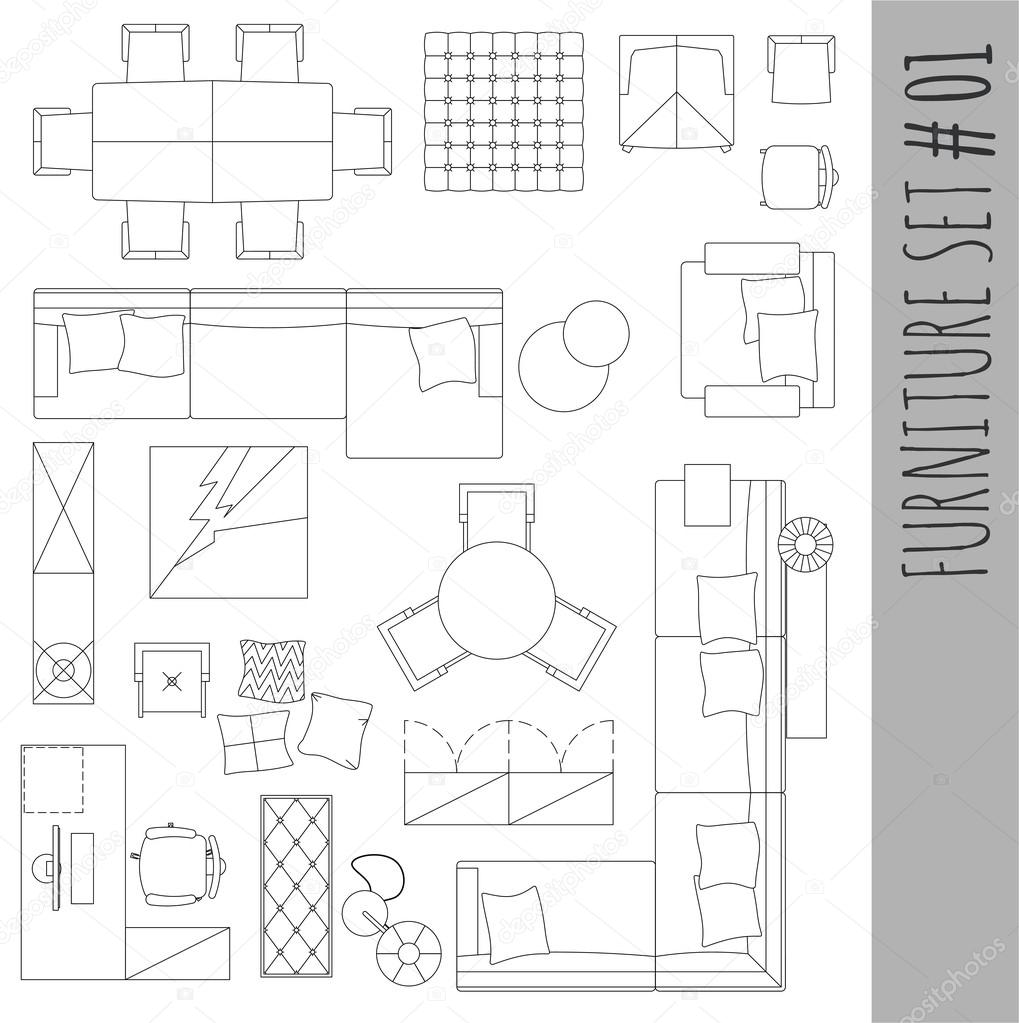 Black White Interior Design Furniture For Floor Plan ~ Símbolos estándar de los muebles utilizados en