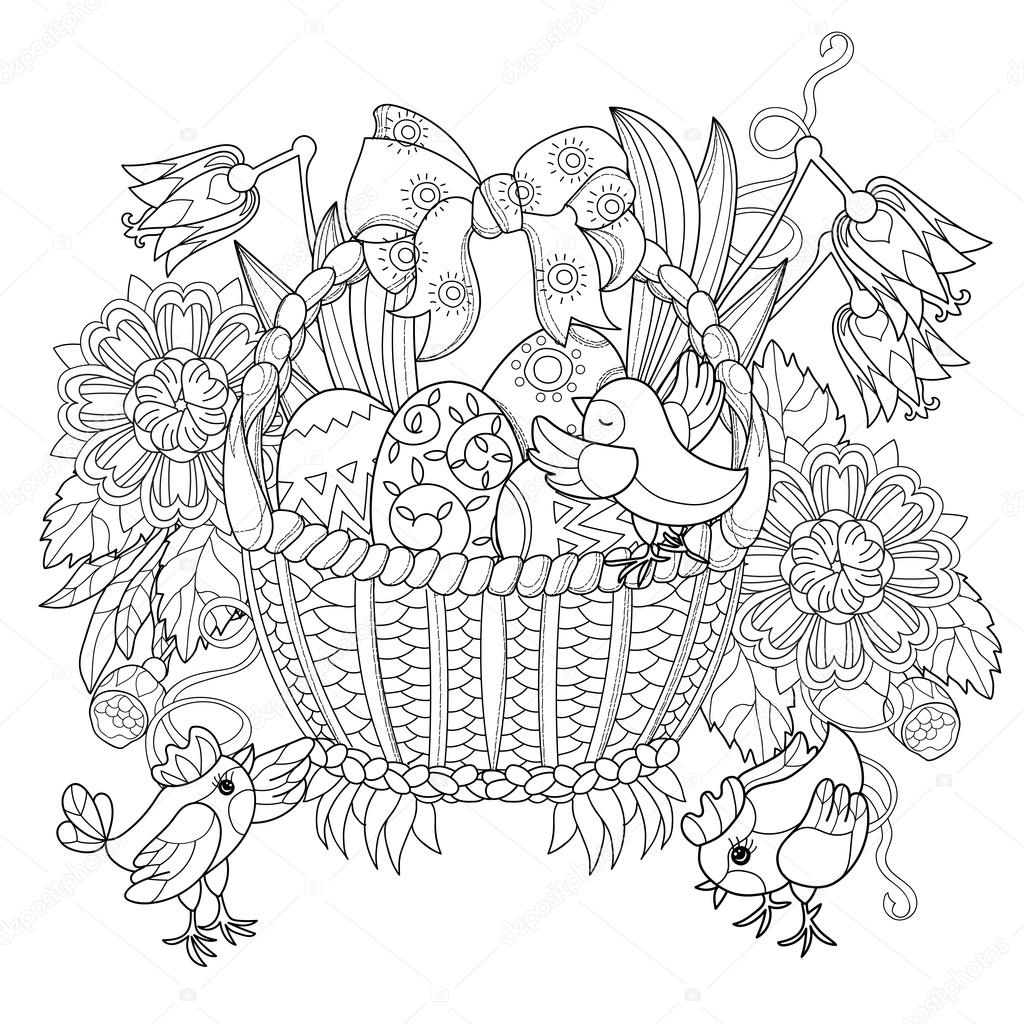 Hand drawn doodle outline easter eggs in basket