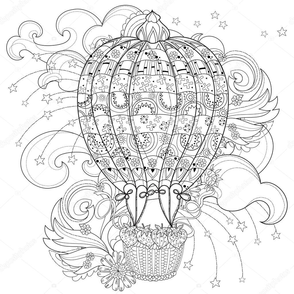 Hand-gezogene Gekritzel Gliederung Heißluftballon im Flug ...
