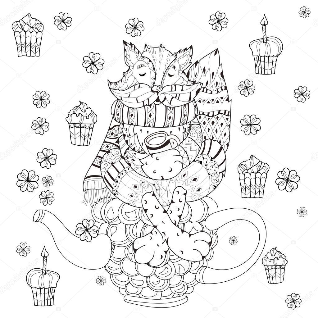 Chica de hadas lindo vector en doodle flores — Vector de stock ...