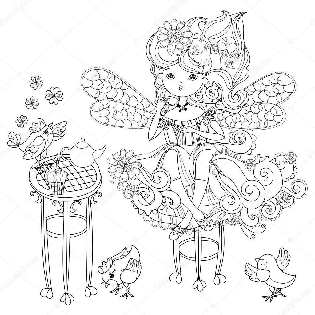 Vektor-süße Fee-Mädchen in Blumen Gekritzel — Stockvektor © YAZZIK ...