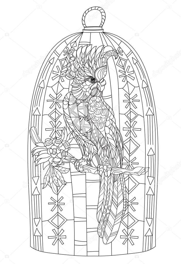 Zentangle estilizado loro. Vector dibujado mano — Archivo Imágenes ...