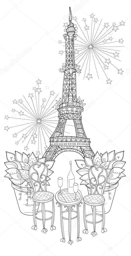 Imágenes: paris para dibujar | Tabla vino lindo del vector en París ...