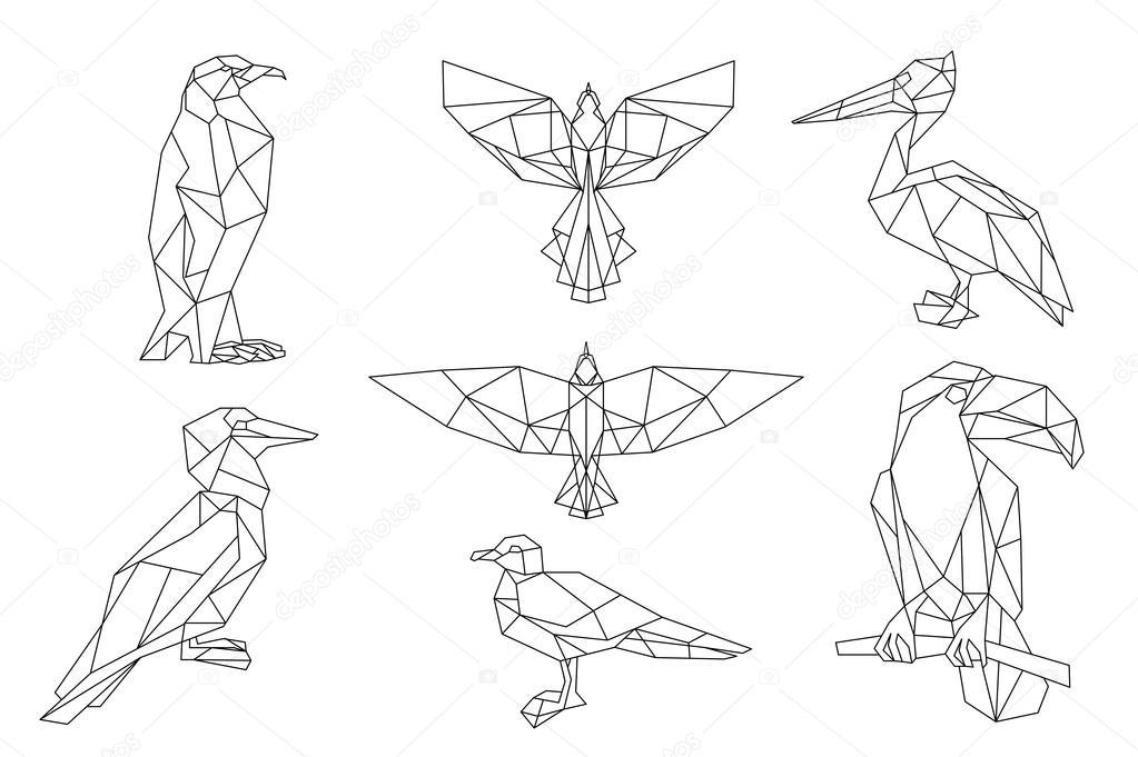 Conjunto de iconos triangulares de aves — Vector de stock © YAZZIK ...