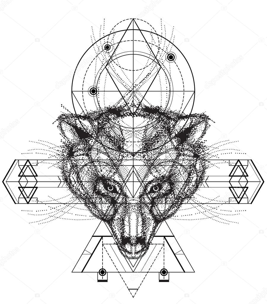 Oso Dibujo Geometrico Vista Frontal Del Doodle Cabeza Oso Vector