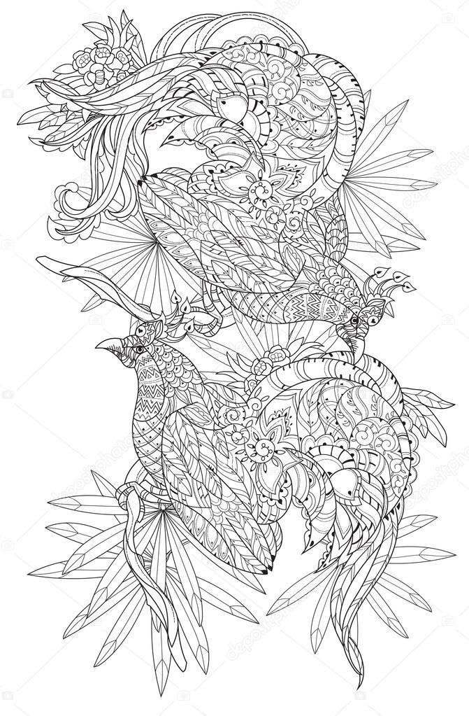 Estilizadas aves tropicales. Vector dibujado mano — Vector de stock ...