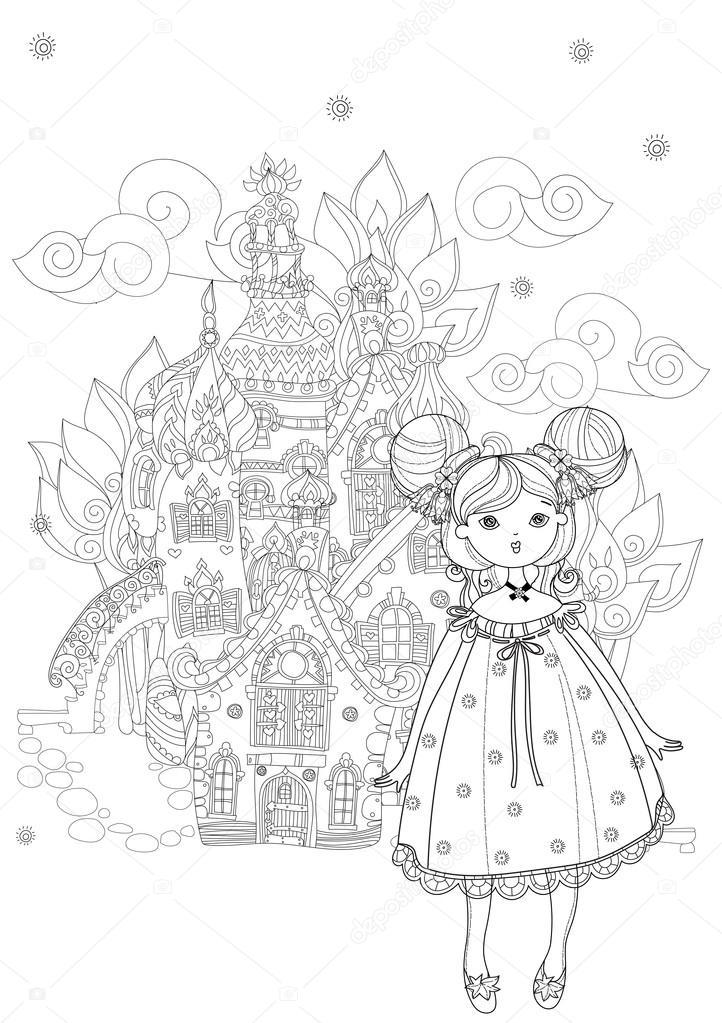 Jolie Fille Dans La Ville De Dessin Anime Fee Doodle Image