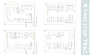Standard office furniture symbols on floor plans