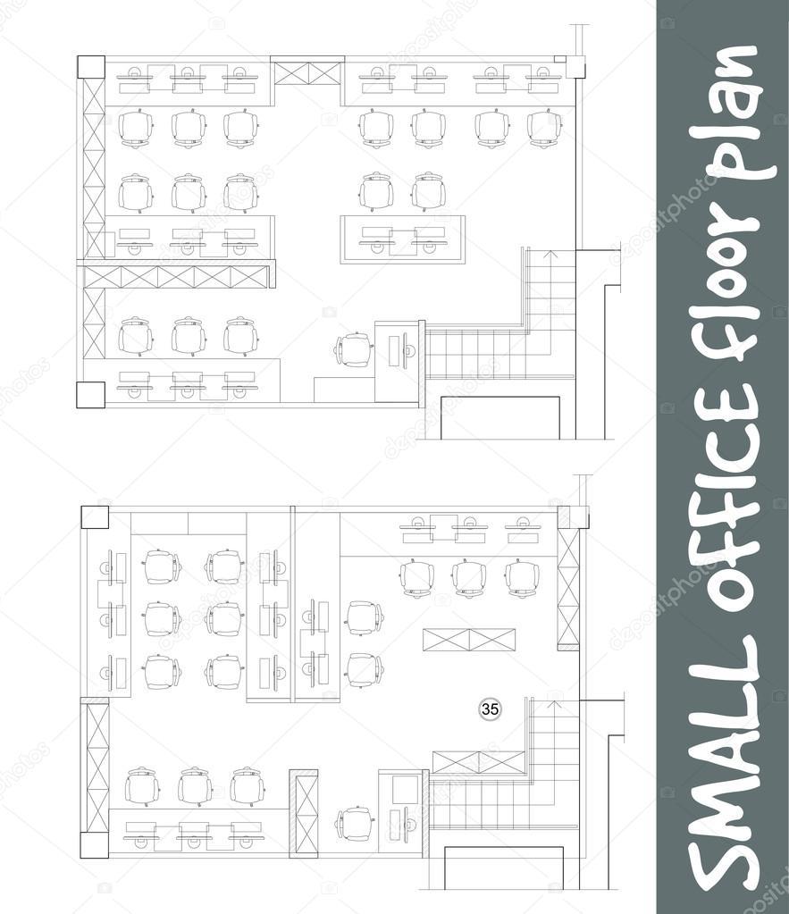S Mbolos De Muebles De Oficina Est Ndar En Planos De Planta  # Muebles Dibujo Arquitectonico