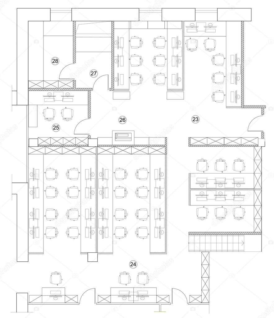 office room plan. Standard Furniture Symbols Used In Architecture Plans Icons Set, Office Planning Icon Graphic Design Elements. Small Room - Top View Plans. Plan M
