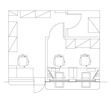 Standard furniture symbols used in architecture