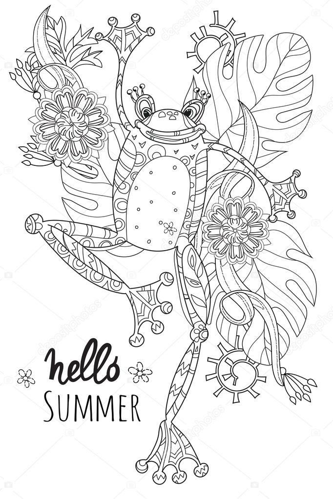 Sevimli Kurbağa Prens Yaz çiçek Stok Vektör Yazzik 114351558