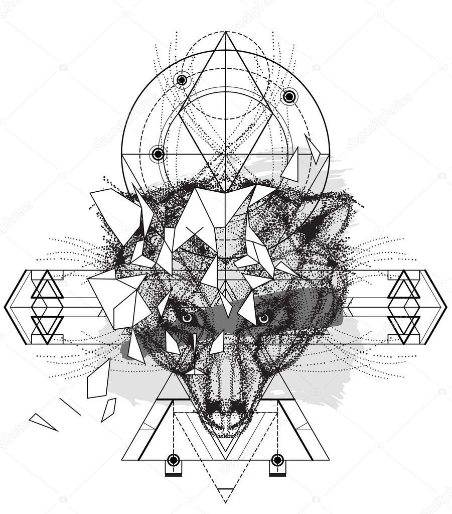 Cabeza De Animal Geométrica Oso Animal Cabeza Icono Triangular